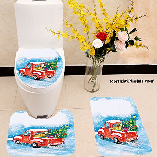 Niasjnfu Chen three-piece toilet seat pad customChristmas Vintage Red Truck in Snowy Winter Scene with Xmas Tree and Gifts Candy Cane Kids Blue White Red (Candy Cane Purple)