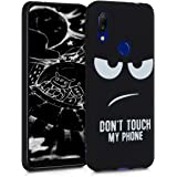 kwmobile TPU Silicone Case Compatible with Xiaomi Redmi 7 - Soft Flexible Shock Absorbent Protective Phone Cover - Don't Touch My Phone White/Black