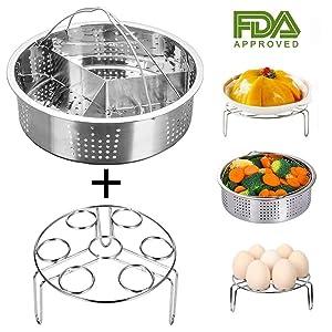 Instant Pot Accessories Steamer Basket with Egg Steamer Rack, Divider, Fits Instant Pot 5,6,8 qt Pressure Cooker, Stainless Steel, 3 Pcs Set