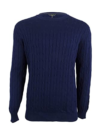 Club Room Mens Cable Knit Crew Neck Pullover Sweater at Amazon ...
