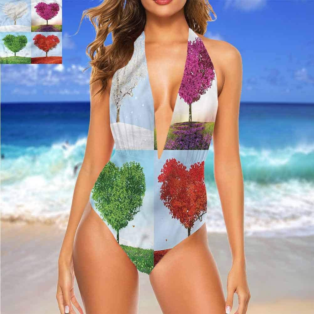 Adorise Custom Cute Maillots de bain Nature, Hazy Mountain Evergreens Idéal pour la piscine Party Multicolore 02