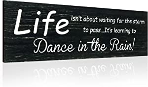 Wall Hanging Decorative Wood Sign Life Isn't About Waiting for The Storm to Pass, It's Learning to Dance in The Rain Rustic Farmhouse Decor Home Sign Wall Decorations for Living Room Modern Farmhouse