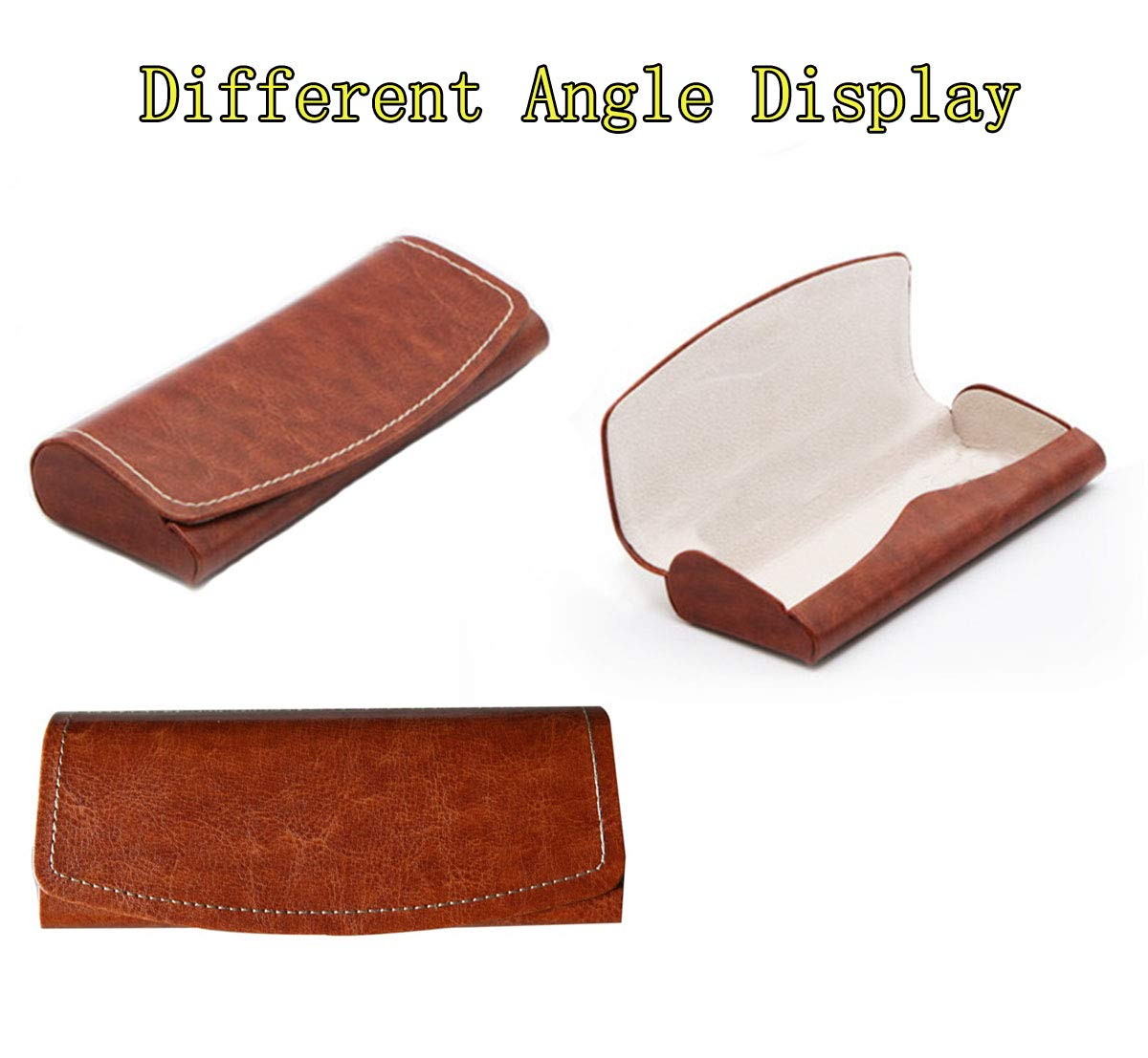 PU Leather Hard Shell Eyeglass Case Portable Sunglasses Glasses Holder Pouch (Brown) by Bauson (Image #4)