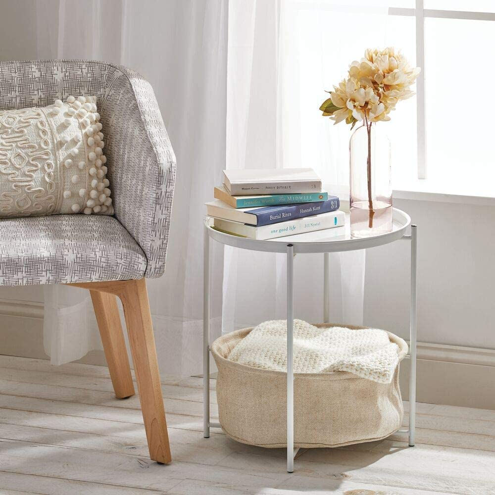Slippers and More /— Living Room and Bedroom Storage Table /— White mDesign Bedside Table /— Side Table with Storage Basket for Blankets
