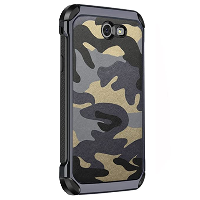 3en1 Funda para Samsung Galaxy A7 (2018) Camuflaje Militar Carcasa Ultra-Delgado Anti-Arañazos Caso Protectora Silicone Cover Funda Estuche Resistente