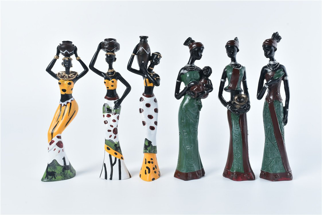 TBW African Tribal Women Collectible Figurines for Mother's Gifts,Green,Pack of 3 by TBW (Image #5)