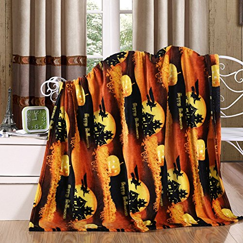 (Elegant Comfort Velvet Touch Ultra Plush Halloween Holiday Printed Fleece Throw/Blanket - 50