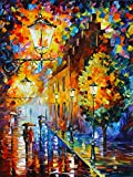 Lights In The Night is a Limited Edition print from the Edition of 400. The artwork is a hand-embellished, signed and numbered Giclee on Unstretched Canvas by Leonid Afremov. Embellishment on each of these pieces will be slightly different, but the i...