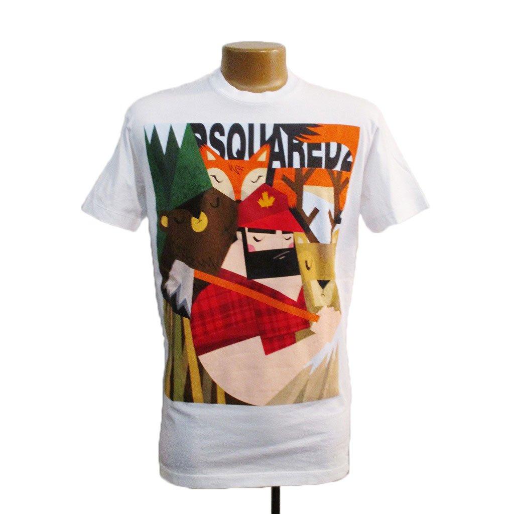 (ディースクエアード) DSQUARED MEN'S T-SHIRT メンズ Tシャツ ホワイト S B07FRW2F7W