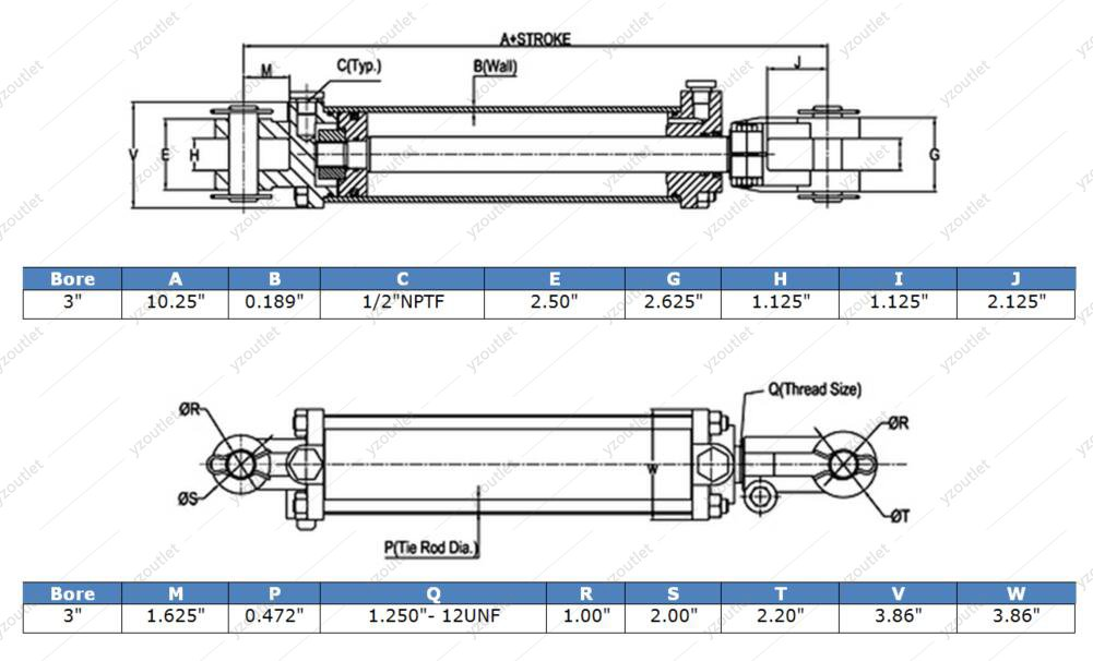 Mighty Double Acting Hydraulic Tie Rod Cylinder 3'' Bore x 18'' Stroke by Mighty (Image #3)