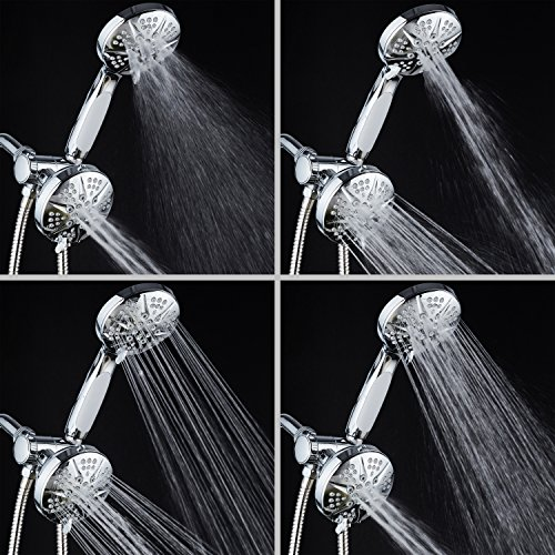 NOTILUS SURROUND-SHOWER(TM) High-Pressure 48-setting Luxury 3-way Shower Head/Handheld Combo - Anti-Slip Grip, Anti-Clog Jets, Heavy-Duty Stainless Steel Hose, All-Chrome Finish, by HotelSpa (Image #5)
