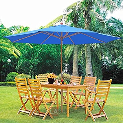 Oversized 13 Feet Market Patio Umbrella Outdoor Furniture Blue 106u201d Ht  German Beech Wood Pole