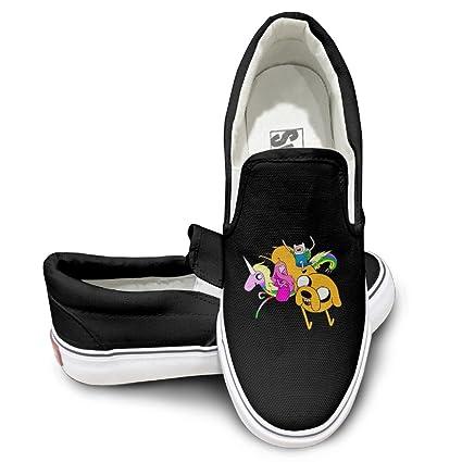 4efe07e291 Amazon.com  EWIED Unisex Classic Adventure Time Slip-On Shoes Black ...