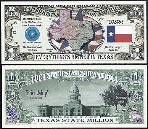 Texas State Educational Million Dollar Bill W Map, Seal, Flag, Capitol -Lot of 100 Bills - Seal Dollar Bill