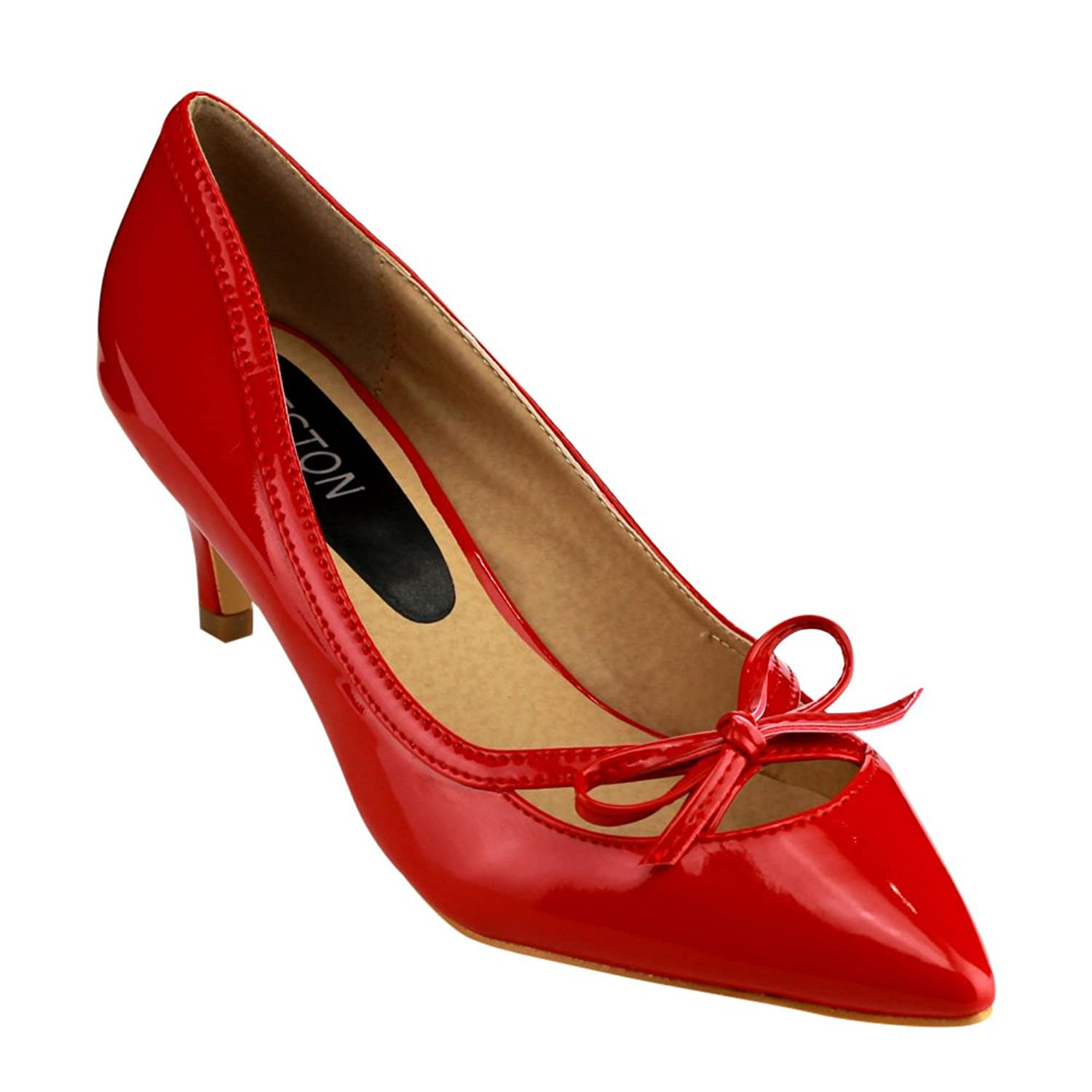 1950s Style Shoes  Pointed Toe Low Heels Bowknot Deco Pump $27.49 AT vintagedancer.com