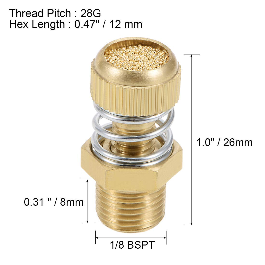 Silencieux /échappement air pneumatique r/églable cuivre 1//8 BSPT Or Ressort 5pcs