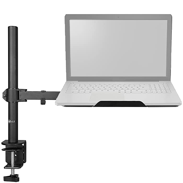 WALI Laptop Tray Desk Mount for 1 Laptop Notebook up to 17 inch, Fully Adjustable, 22 lbs Capacity with Vented Cooling Platform Stand (M00LP)
