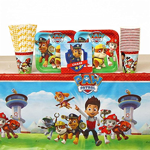 Paw Patrol Party Pack for 16 Guests: Straws, Dessert Plates, Beverage Napkins, Cups, and Table Cover (Bundle for 16) -