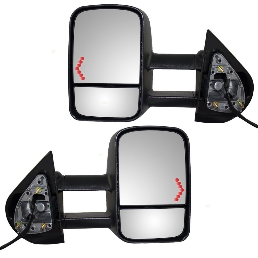 APA Chevy Silverado Sierra 07 - 13 Towing Power Heated With Signal Light Mirror Pair by Auto Parts Avenue