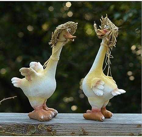 Estatuas para Jardín Adornos Patio De Resina De Dibujos Animados Pato Jardín del Paisaje del Parque Esculturas De Resina 2pcs: Amazon.es: Hogar