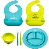 BLISSBABY Set de Baberos de Silicon Impermeable para Bebés con Tazon, Cucharas y Plato de Silicona con Tapete Adherente…