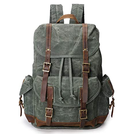 Image Unavailable. Image not available for. Color  Canvas Backpack for Men  Women Vintage 15.6 Laptop Backpacks School Bookbag Waterproof Wax Canvas  Leather ... ed46318b7d