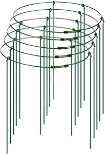 YPeng 5 Pack Plant Support Cages 11.81inch with 4 Legs and Adjustable Ring Plant Support Stakes for Garden Climbing Plants Cherry Tomato Peony Flowers Vegetables, to Keep Animals Out