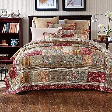 Tache 100% Cotton Charming Fairytale Tea Party Quilt Set, Cal King (Cotton Tale Tea Party Bedding)