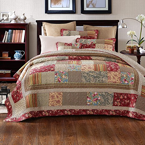 Tache 3 Piece Cotton Charming Fairytale Tea Party Patchwork Quilt Bedspread Set, Twin - Country Bedding Sets Twin