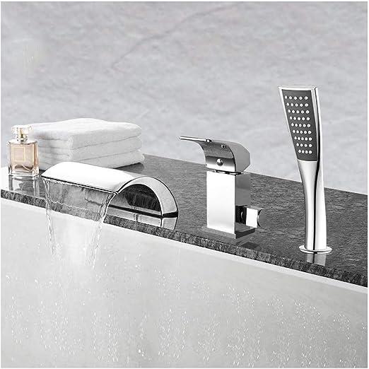Neu Wannenarmatur Wasserhahn Duscharmatur Set mit Handbrause Wasserfall für Bad