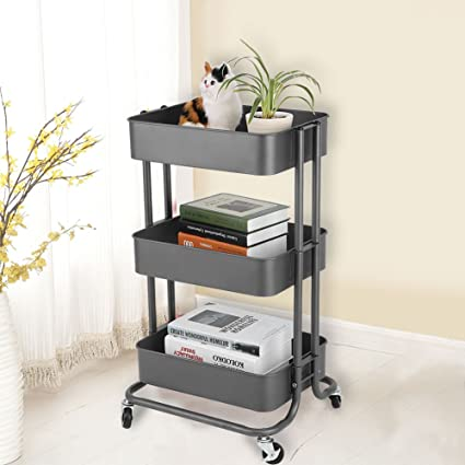 d0eace650f30 Storage Utility Cart, Adjustable 3 Tiers Storage Rack Rolling Storage Cart  Home Kitchen Organizer Utility Baskets Rolling Wheels Service Cart Storage  ...