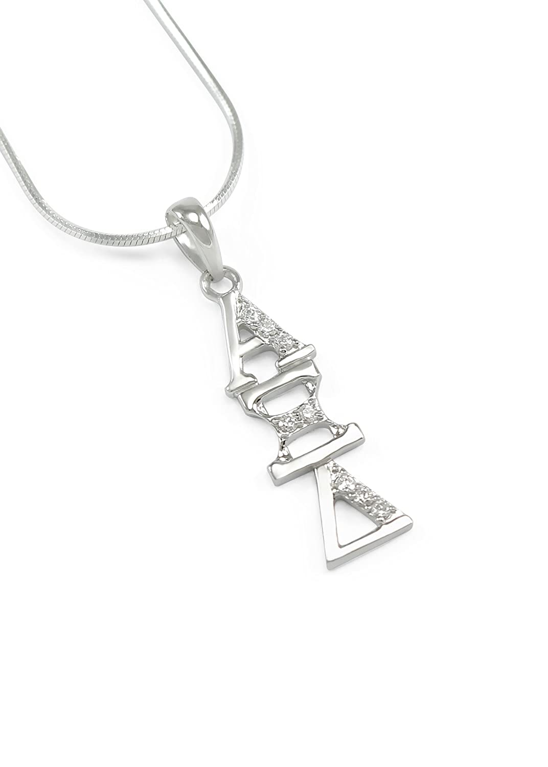 The Collegiate Standard Alpha Xi Delta Sterling Silver Lavaliere with CZs