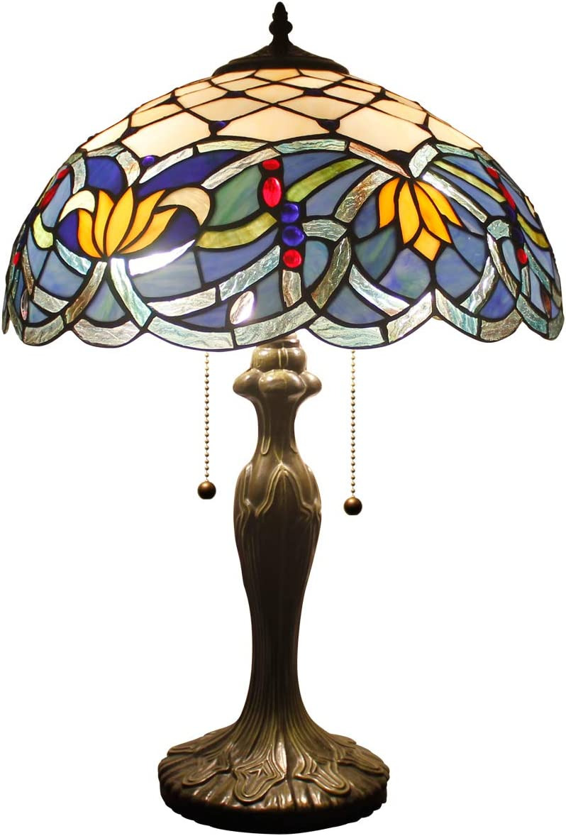 Tiffany Table Lamps Blue Lotus Stained Glass Style Shade Zinc Base 2 Light 24 Inch Tall for Living Room Bedroom Coffee Table Reading Desk Beside Reading S220 WERFACTORY