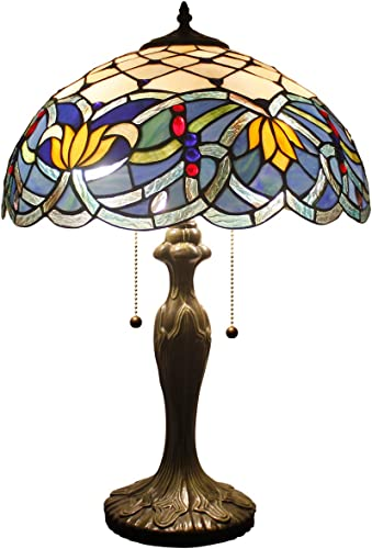 Tiffany Table Lamp Blue Lotus Stained Glass Style Shade Reading Light W16H24 Inch Tall S220 WERFACTORY Lamps Parent Lover Friend Kid Living Room Bedroom Study Office Coffee Bar Desk Art Craft Gift