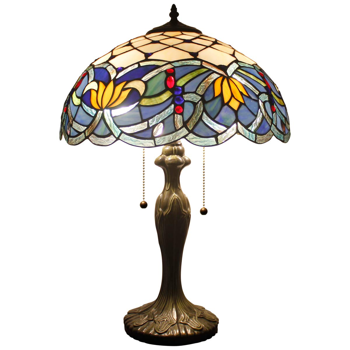 Tiffany Table Lamps Blue Lotus Stained Glass Style Shade Zinc Base 2 Light 24 Inch Tall for Living Room Bedroom Coffee Table Reading Desk Beside Reading Set S220 WERFACTORY