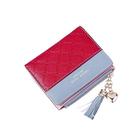 Pawaca Cartera moda para mujer bonita cartera corta, cartera con cremallera rojo Rojo