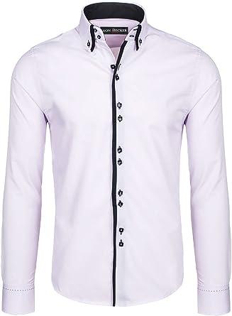 Lyon Becker Mens Italian Shirts Double Collar Slim Fit Casual Button Down Shirt
