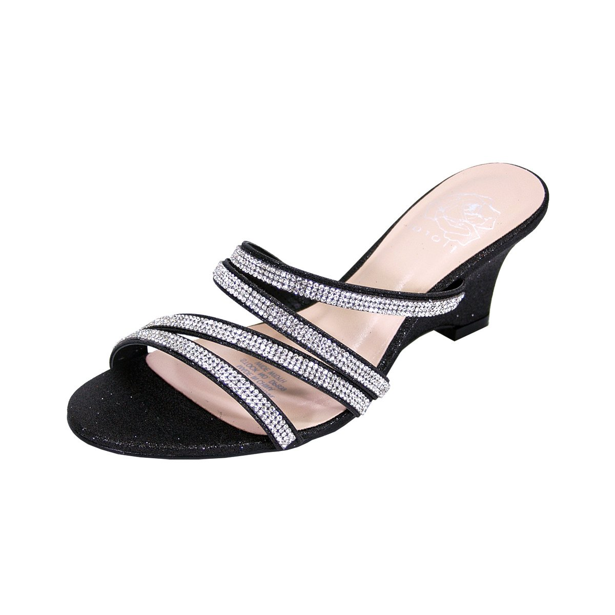 Floral Kelly Women Extra Wide Width Rhinestone Strappy Slip On Wedge Heeled Party Sandals Black 9