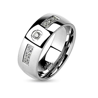 diseño de calidad 3b21f b6a64 Anillo para caballero en acero inoxidable de color plateado - Anillo para  hombre con 4 zirconitas blancas - Joyas para caballero - Anillo de boda  para ...