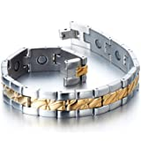 Stainless Steel Men's Jewelry Magnetic Bracelet Link Gold Silver color with Free Link Removal Tool