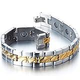 Exquise Bracelet Aimanté en Acier Inoxydable Homme - Aimants- Couleur Argent Or - Outil de Suppression de Lien Inclus