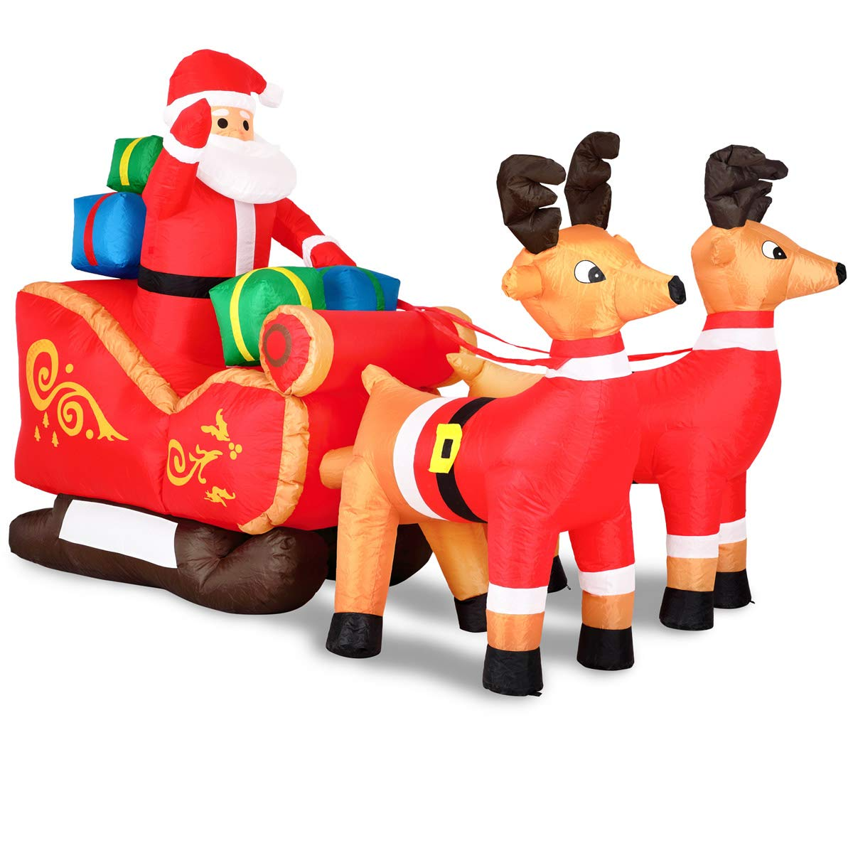 Monzana Aufblasbarer Weihnachtsmann mit Schlitten   Nikolaus Rentiere Weihnachten   Santa Claus Deko LED Beleuchtet