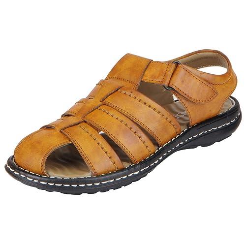 b126af9c0e2a FAUSTO Men s Camel Sandals FST 3360-41  Buy Online at Low Prices in ...
