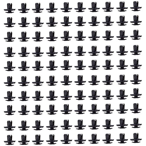 ECCPP 91512-SX0-003 Nylon Black Car Clips Push Type Retainer Clips Kit Panel Trim Fasteners Rivet Kits,100 Pcs
