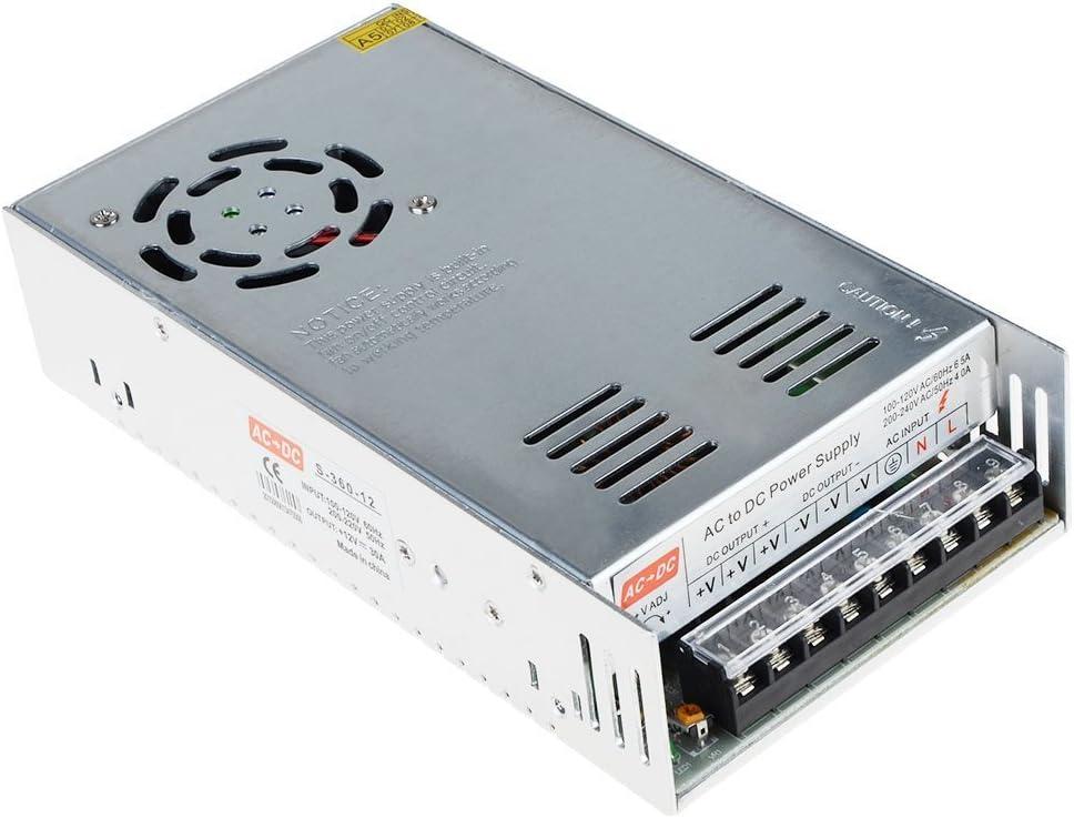 kakayaya 12V 30A Fuente de alimentación conmutada DC 30A 360W Universal Conmutación Adaptador Transformador Interruptor Convertidor de Alimentación para Impresoras 3D Tira LED Luces