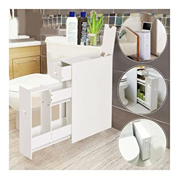 Narrow Wood Floor Bathroom Storage Cabinet Holder Organizer Bath Toilet. Amazon com  Narrow Wood Floor Bathroom Storage Cabinet Holder