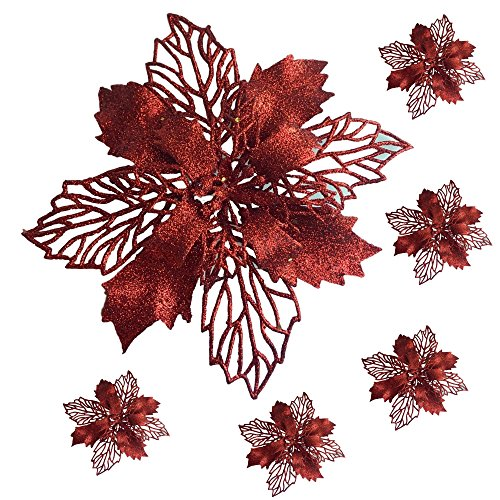 Ornament Craft Set (Poinsettia Clip-On Ornaments - Set of 6 Large Poinsettia Flowers with Clips - Red Floral Ornaments - 6
