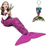Mermaid Tail Blanket, Amyhomie Mermaid Blanket Adult Mermaid Tail Blanket, Crotchet Kids Mermaid Tail Blanket for Girls (Rain