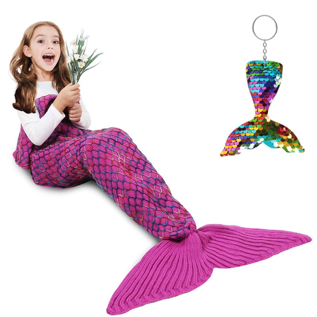 AmyHomie Mermaid Tail Blanket, Mermaid Blanket Adult Mermaid Tail Blanket, Crotchet Kids Mermaid Tail Blanket for Girls (Rainbow, Kids) by AmyHomie