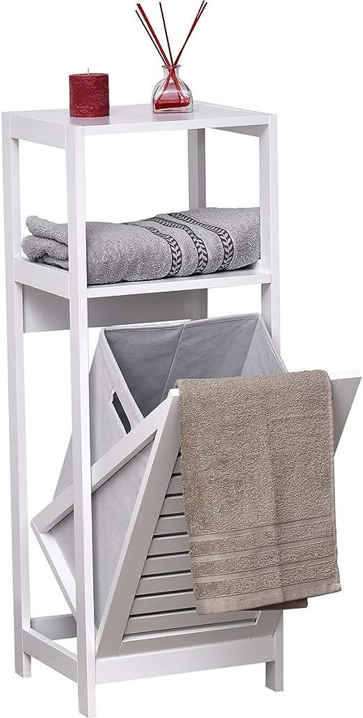Mueble de madera blanco con cesto para ropa sucia.: Amazon.es: Hogar